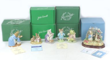 Six limited edition Beatrix Potter figurines, comprising five Beswick, ?Flopsy, Mopsy and Cotton-