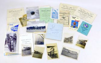 A collection of early aviation ephemera, including a signatures of French Aeronaut Charles