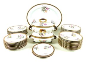 A late Victorian Royal Worcester part dinner service, hand painted decoration depicting sprays of