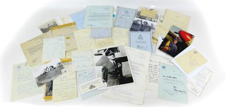 A collection of WWII RAF pilot correspondence and signatures, including a handwritten letter from