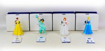 Four Royal Doulton Disney Princess figurines, comprising Cinderella DP1, Belle DP3, Ariel DP4 and