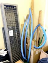A group of grey painted metal racking, together with a quantity of miscellaneous wood offcuts and