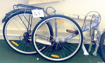A Tiger blue white painted gent's road bike, requiring assembly.