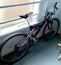 A Gary Fisher, Joshua, black painted gent's mountain bike, with dual suspension.