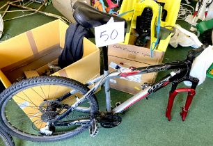 A Scott Voltage YZ2 silver, black and red painted gent's mountain bike, with dual suspension,