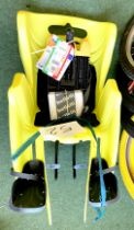 A Bellelli Little Duck Reflex yellow rear fixed mount child's seat.