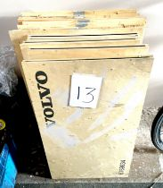 A group of six Volvo branded folding plywood boxes / crates.