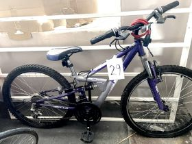 An Apollo FS29 silver and dark blue painted child's bike, with dual suspension.