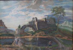 Italian School, early 19th Century, Figures in an Arcadian landscape, gouache,