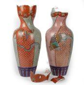 A tall pair of Fukagawa Koransha vases, Meiji period,