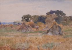 Claude Hayes (British, 1852-1922), Harvesting hay, signed 'Claude Hayes' (lower left), watercolour,