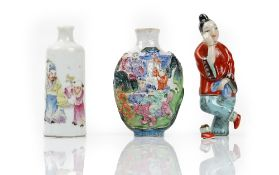 Three Chinese porcelain snuff bottles,