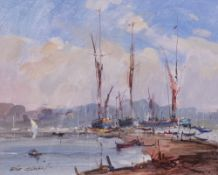 Peter Gilman (British, 1928-1984), Boats in harbour, signed 'Peter Gilman' (lower left),