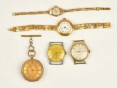 A 9ct gold circular cased ladies wristwatch, the jewelled movement detailed Swiss made,