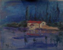 Siegfried Alva (German, 1901-1973), On the River, San Viglio, signed 'Alva' (lower left),