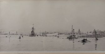 Rowland Langmaid (British, 1897-1956), A naval ship and other boats in Portsmouth Harbour,