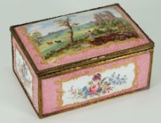 A 19th century enamel casket, the hinged dome cover painted with a pastoral scene,