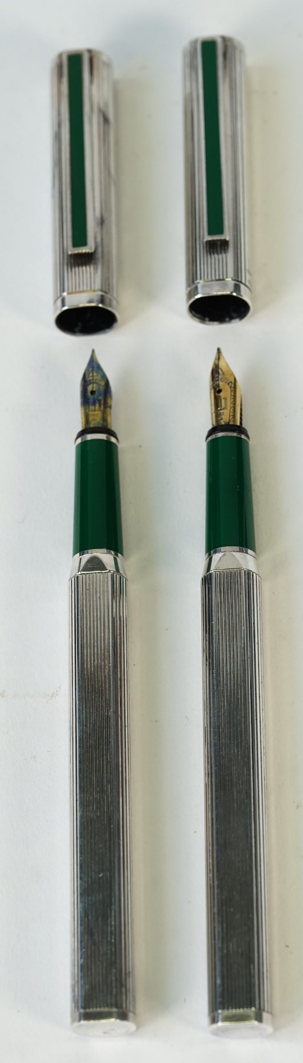 Two Dunhill silver plated fountain pens, - Image 2 of 4