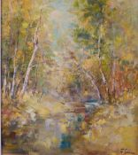 F*** Tonea (20th Century), A woodland stream, signed 'F Tonea' (lower right), oil on canvas,