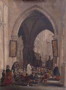 English School, 19th Century, Children in a church interior,