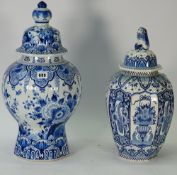 A 20th century Dutch Delft blue and white vase and cover, of baluster form, 48cm high,