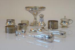Silver and silver mounted wares, comprising; a pedestal bonbon dish (loaded), a napkin ring,
