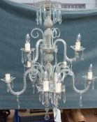 A 20th century Italian style glass nine light chandelier with spiral twist branches over two tiers