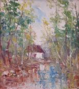F*** Tonea (20th Century), House by a woodland stream, signed 'F.