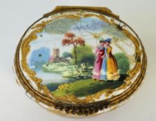 A late 18th-century enamel and gilt metal mounted bonbonniere, probably Staffordshire,