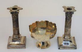 A pair of late Victorian silver candlesticks each designed as a Corinthian column,