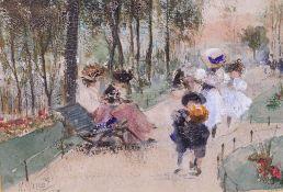 William Walcot (British, 1874-1943), Women and children in a park,