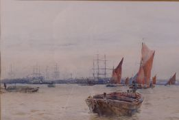 Frank Saltfleet (British, 1860-1937), Dorothy and other shipping on the Thames,