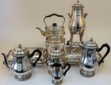 Plated wares, comprising; a five piece tea and coffee set consisting of a twin handled urn,