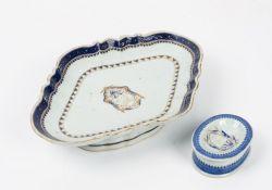 A Chinese export porcelain oval salt, circa 1790,