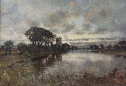 Follower of Karl Heffner, River landscape with church, oil on canvas, bears signature (lower right),