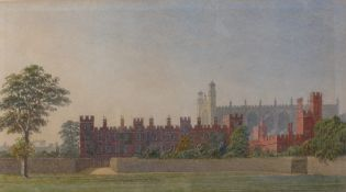 George Pyne (British, 1800-1884), The Wall, Eton College, with the chapel beyond,