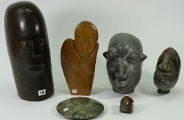 Six various African Shona carved stone sculptures, each inscribed with artist's name to the bases,