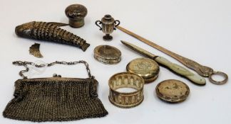 Silver and silver mounted wares, comprising; a lady's chain mesh purse/bag, import mark London 1916,