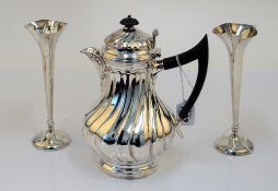 Silver, comprising; a Victorian baluster shaped hot water jug,