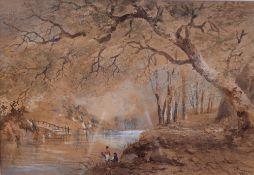 Cornelius Pearson (British, 1805-1891), Fisherman on a woodland stream,