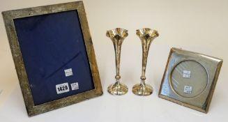 Silver and silver mounted wares, comprising; a rectangular photograph frame, Birmingham 1907,