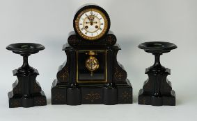 A French black slate clock garniture, the clock with a 4.5in.