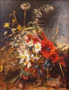 European School, late 19th/early 20th Century, Still life of flowers, oil on canvas, 44 x 35.