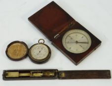 A 19th century leather-cased compensated pocket barometer and altimeter,