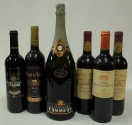 Champagne and Red Wine: Pommery Brut (magnum, age unknown,
