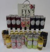 Wine Box and Miniatures: Cape Fyn Bos Chenin Blanc (3 litres); Tavernello Pinot Bianco (50cl);