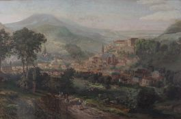 German School, 19th Century, Baden Baden, lithograph with hand colouring,