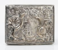 A George III Irish interst rectangular silver snuff box, apparently unmarked,