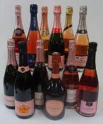 Rosé Champagne: Booths Brut; Veuve Clicquot Brut; Lombard Extra Brut Premier Cru;