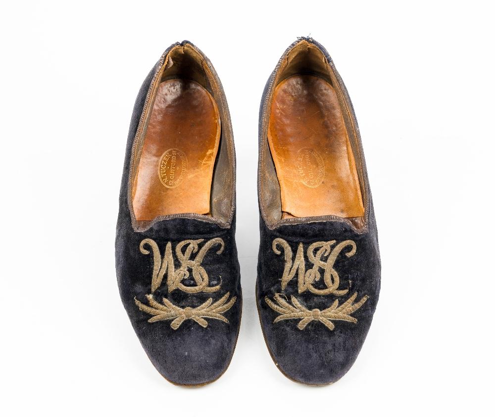 Sir Winston Churchill's monogrammed midnight blue velvet evening slippers, 1950s, of Albert style, - Image 2 of 10